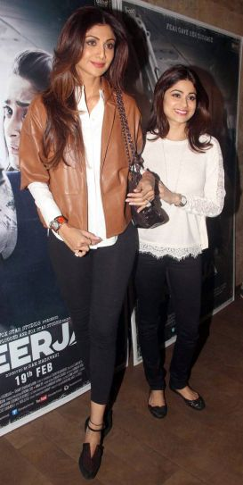 Shilpa Shetty and Shamita Shetty at Neerja screening