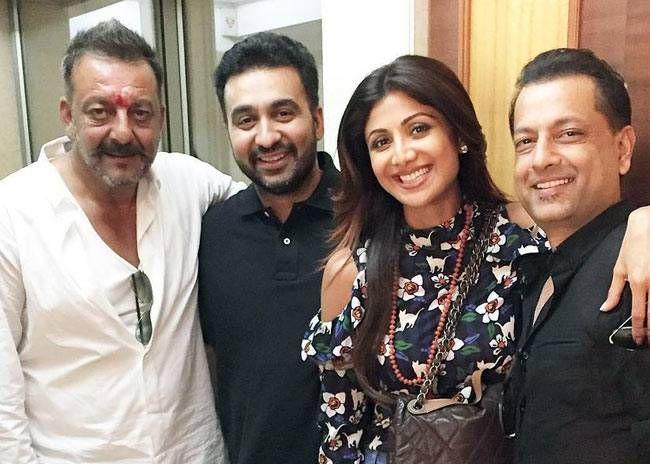 Raj Kundra and Shilpa Shetty at Sanjay Dutt's residence in Mumbai