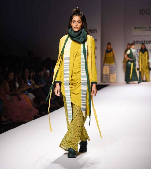 A model walks for designer Chandrani Singh. Her collection was called Mrityunjay.
