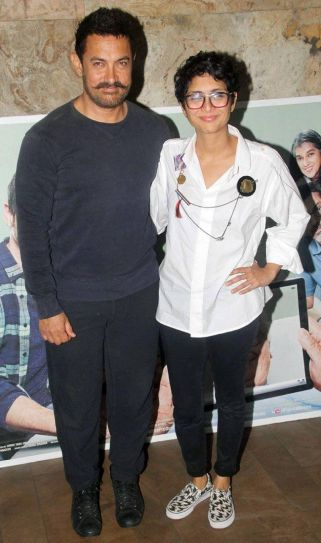 Aamir Khan and Kiran Rao at the Kapoor And Sons screening