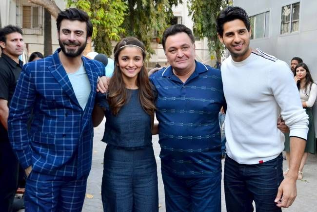 Fawad Khan, Alia Bhatt, Rishi Kapoor and Sidharth Malhotra during the promotion of Kapoor and Sons