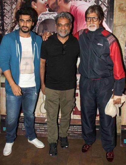 (L-R) Arjun Kapoor, R Balki and Amitabh Bachchan
