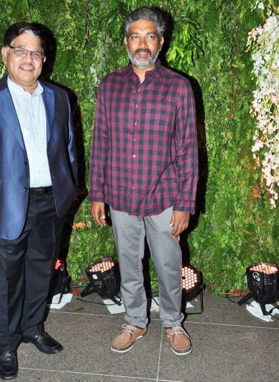 SS Rajamouli and producer Allu Arvind at Srija's wedding reception.