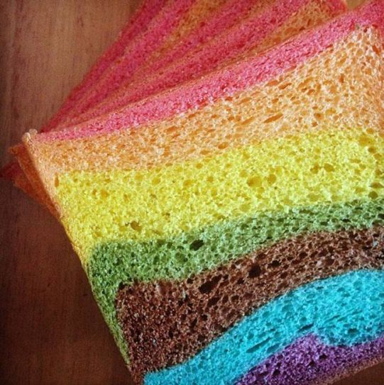 If you don't mind artificial food colours in your food, this rainbow bread is the perfect way to start your day.