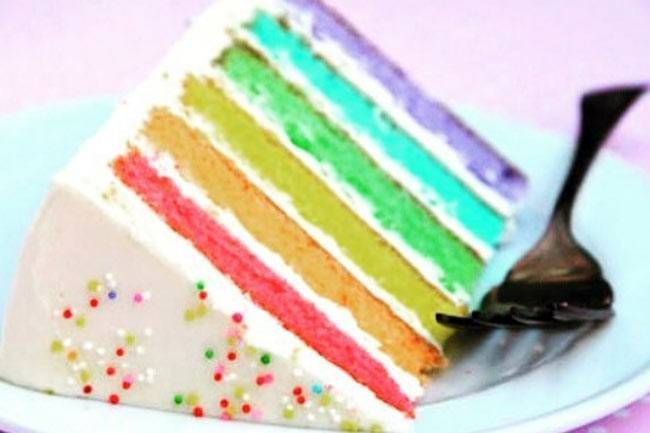 A layered cake with all the colours of the rainbow. What a treat!