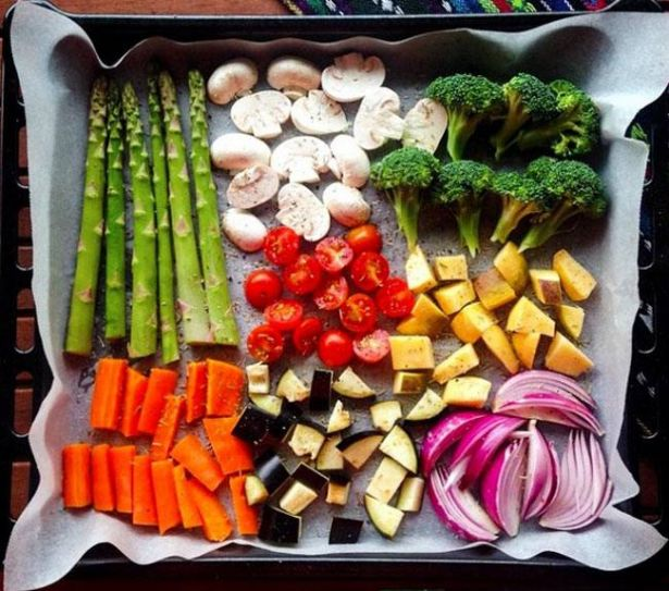 Roast bright seasonal vegetables to get a naturally rainbow-coloured platter!