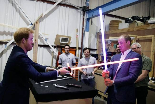 Prince Harry (L) and Prince William