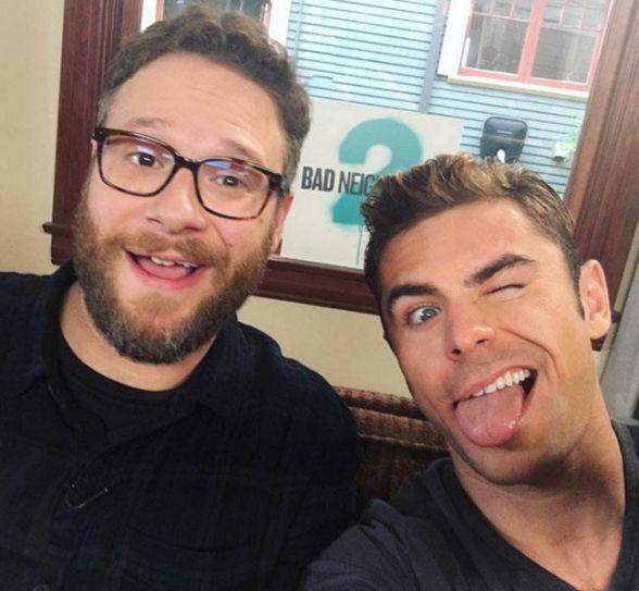 Seth Rogen (L) and Zac Efron