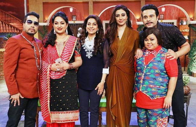 Mika Singh, Upasana Singh, Juhi Chawla, Tabu, Krushna Abhishek and Bharti Singh pose for shutterbugs.