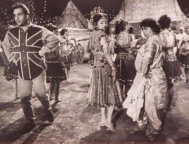 Madhuri Dixit (L) and Saroj Khan