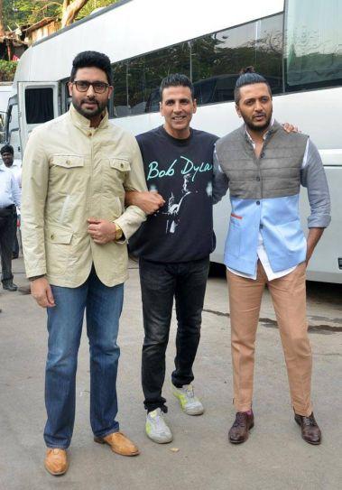 (L-R) Abhishek Bachchan, Akshay Kumar and Riteish Deshmukh