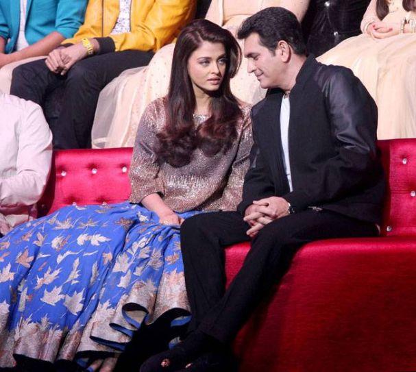 Omung Kumar and Aishwarya Rai on the sets of Sa Re Ga Ma Pa.