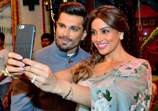 Bipasha and Karan take a selfie on the sets of TKSS.