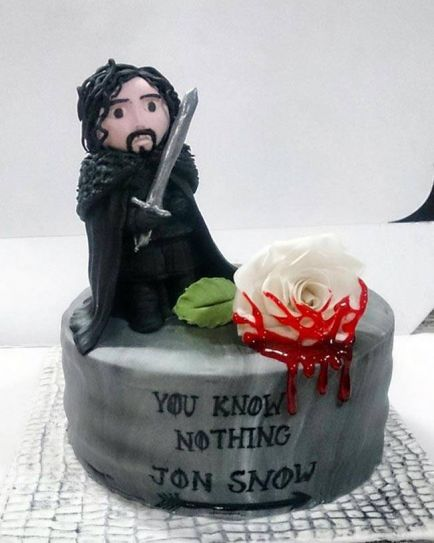 As the popular HBO TV series is halfway through Season 6, fans around the world are indulging in these beautiful and creative cakes. This one is a tribute to the one liner often thrown at Jon Snow.