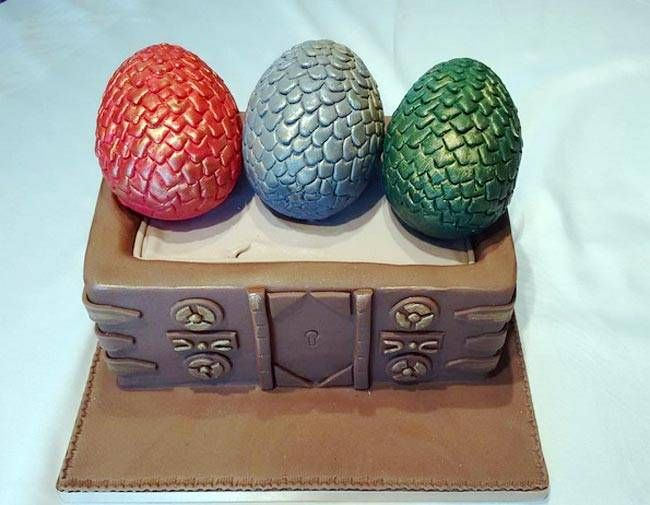 Daenerys's dowry: This cake shows the three dragon eggs Daenerys received as a gift on her wedding day.