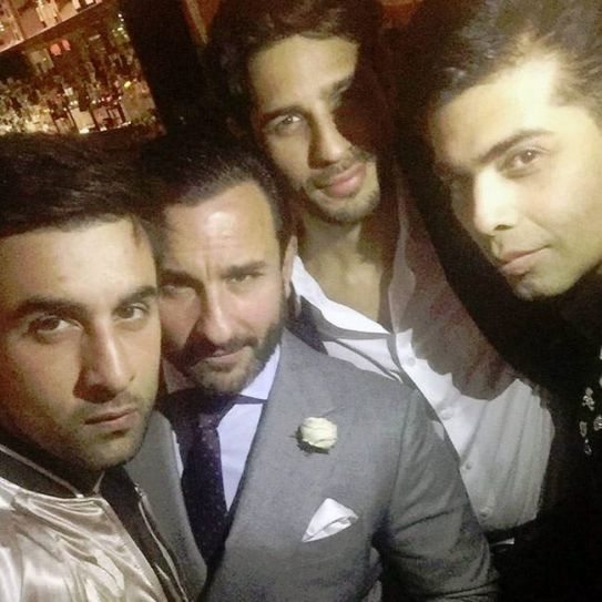 Ranbir Kapoor, Saif Ali Khan and Sidharth Malhotra at Karan Johar's birthday bash