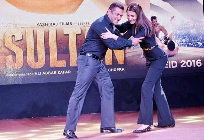 Salman Khan and Anushka Sharma at Sultan trailer launch