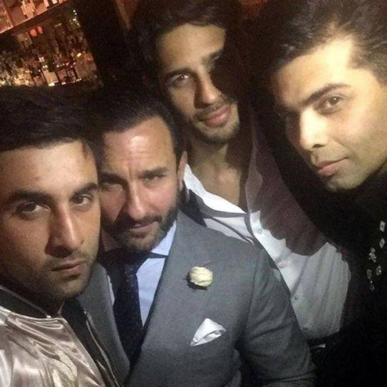 Ranbir Kapoor, Saif Ali Khan, Sidharth Malhotra at Karan Johar's birthday bash