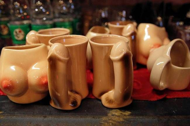 Penis and breast-shaped cups are placed on the bar of Ke'er restaurant in Beijing, China. According to a Reuters report, the owner, Lu Lu said she was catering to a new generation of educated city residents who are increasingly willing to explore sex.