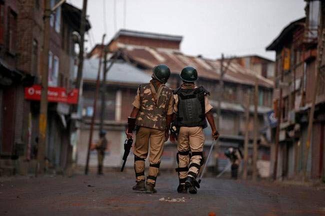 Police patrol in Srinagar