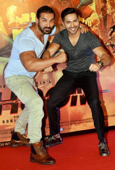 John Abraham (L) and Varun Dhawan at the trailer launch of Dishoom