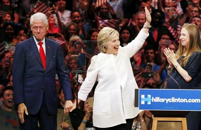 Clintons celebrate as Hillary claims nomination