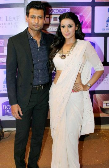 Indraneil Sengupta who's playing the fiance of Nia Sharma in Jamai Raja with wife Barkha Bisht.