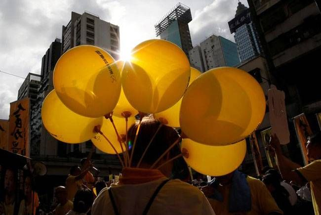 Balloons symbolising Occupy Central movement