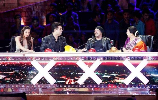 Salman Khan with the judges of India's Got Talent--Karan Johar, Kirror Kher and Malaika Arora.