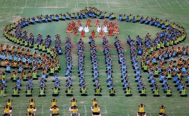 Students in Ahemdabad performing yoga