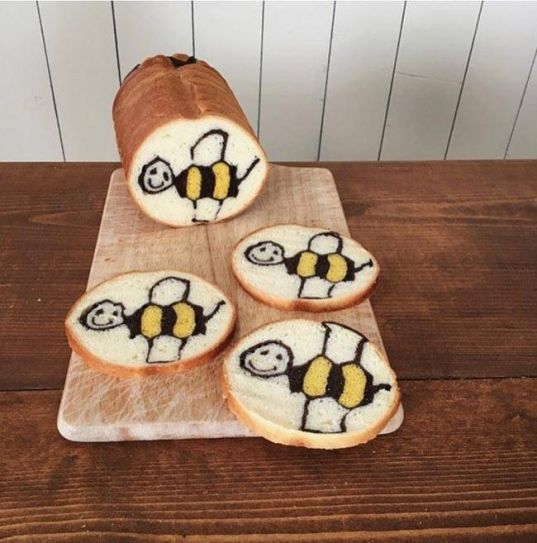 Konel draws inspiration from her little son's artwork, and converts them into these bread loaves.