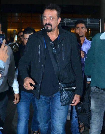 Sanjay Dutt at an international airport.
