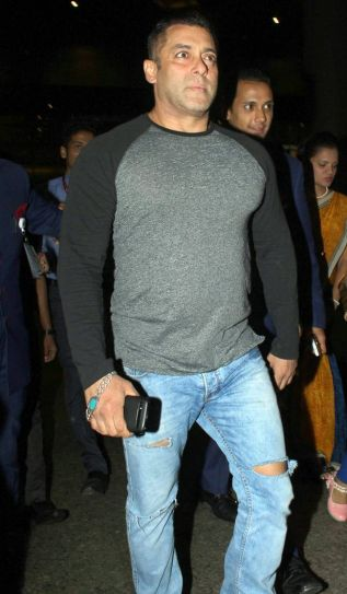 Salman Khan at the Mumbai international airport.
