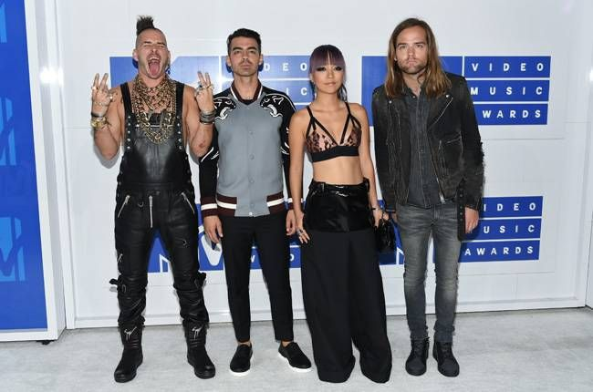 Cole Whittle, Joe Jonas, JinJoo Lee, Jack Lawless for DNCE arrive at the MTV Video Music Awards.