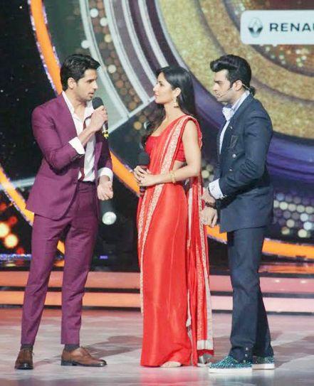 Sidharth Malhotra, Manish Paul, and Katrina Kaif