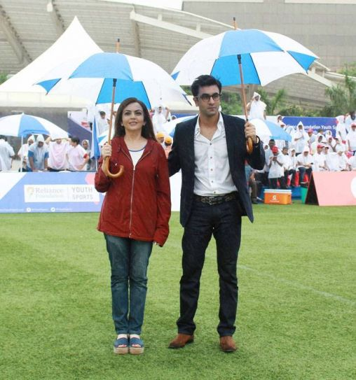Ranbir Kapoor and Neetu Ambani at Jio ground, Mumbai.