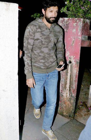 Farhan Akhtar was seen at Bandra