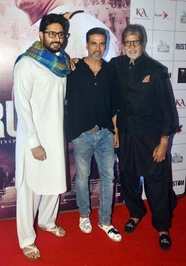 (L-R) Abhishek Bachchan, Akshay Kumar, Amitabh Bachchan