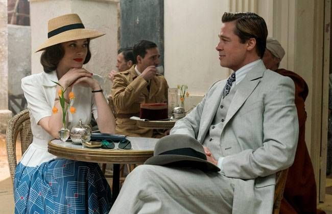 Marion Cotillard and Brad Pitt in a still from their upcoming film Allied.