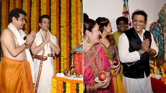 Jeetendra and Govinda with their families