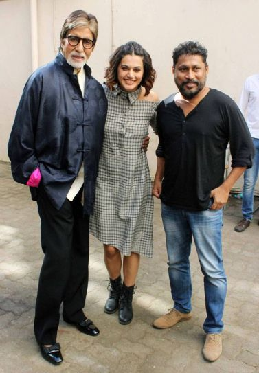 Amitabh Bachchan, Taapsee Pannu and Shoojit Sircar at Mehboob Studio