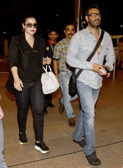 Kajol and Ajay Devgn at Mumbai airport