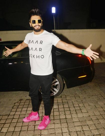 Ranveer Singh at Baar Baar Dekho screening