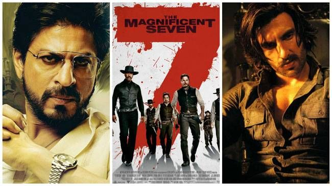 (L to R) Shah Rukh Khan, a poster of The Magnificent Seven, Ranveer Singh