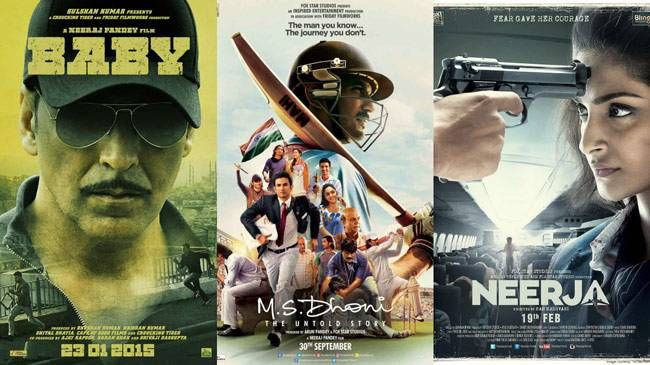 (L to R) Posters of Baby, MS Dhoni The Untold Story, Neerja