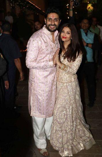 Aishwarya Rai Bachchan and Abhishek Bachchan at Bachchan Diwali Bash