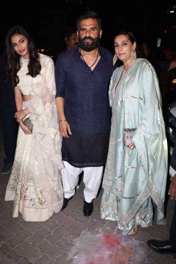 Athiya Shetty with parents at Bachchan Diwali Bash