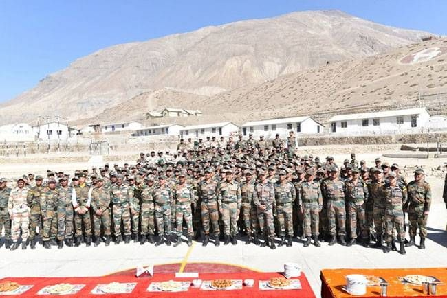 PM Modi met jawans of the ITBP, Indian Army and Dogra Scouts in Sumdo, Kinnaur district of Himachal Pradesh.