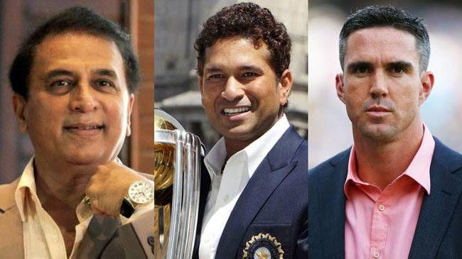(L to R) Sunil Gavaskar, Sachin Tendulkar and Kevin Pietersen
