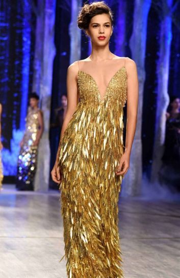 Gold-themed dresses were also featured in the new Enchanted collection by Abu Jani and Sandeep Khosla.